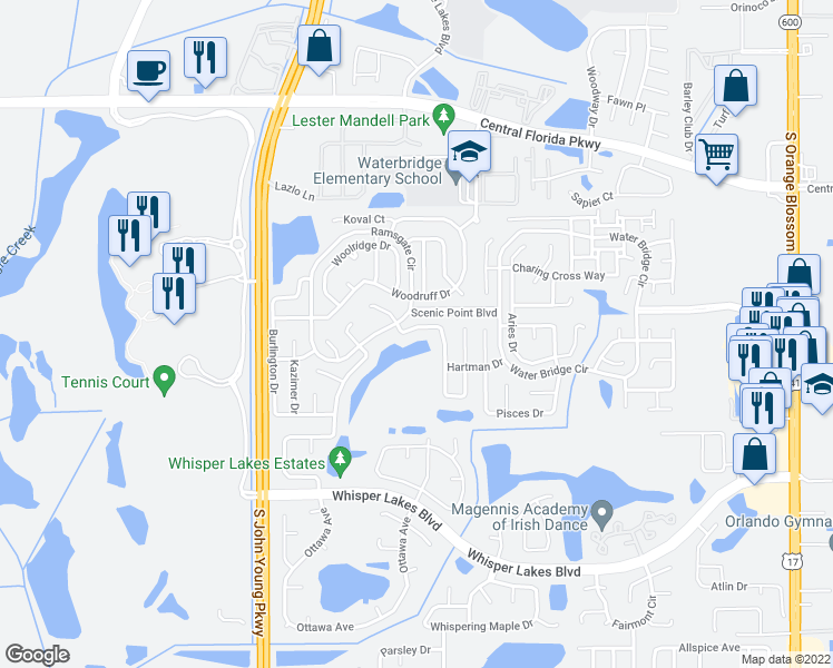 map of restaurants, bars, coffee shops, grocery stores, and more near 11328 Ashboro Dr in Orlando