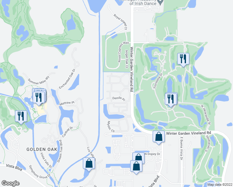 map of restaurants, bars, coffee shops, grocery stores, and more near 10651 Demilo Place in Orlando