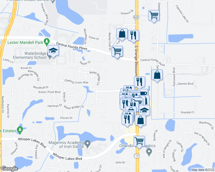 map of restaurants, bars, coffee shops, grocery stores, and more near 11207 Finchley Place in Orlando