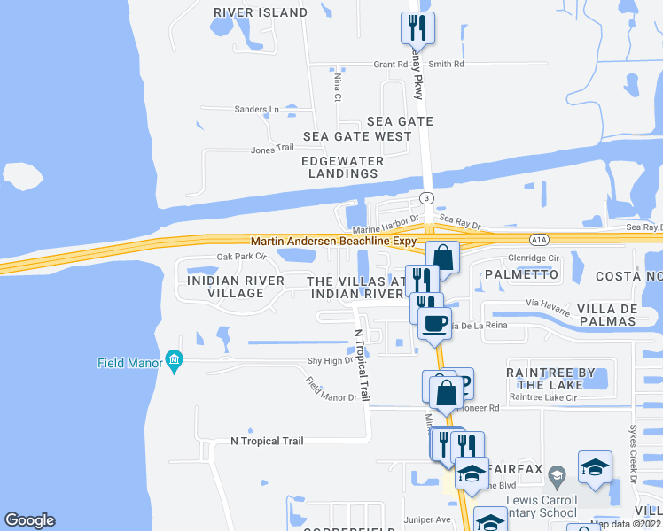 map of restaurants, bars, coffee shops, grocery stores, and more near 2600 Via Napoli Court in Merritt Island