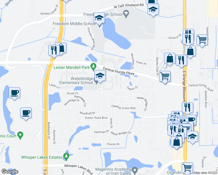 map of restaurants, bars, coffee shops, grocery stores, and more near 10861 Windsor Walk Drive in Orlando