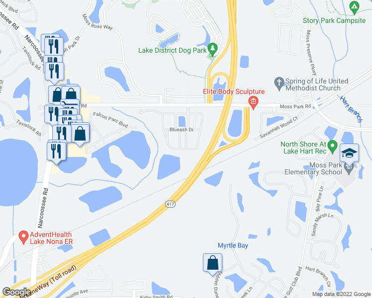 map of restaurants, bars, coffee shops, grocery stores, and more near 9531 Savannah Ainsley Lane in Orlando