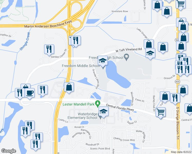 map of restaurants, bars, coffee shops, grocery stores, and more near Grande Lakes Boulevard in Orlando