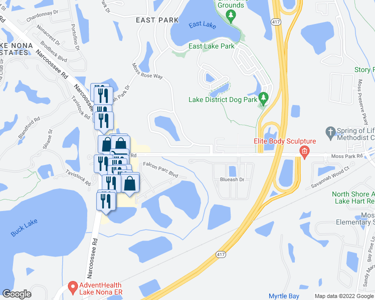 map of restaurants, bars, coffee shops, grocery stores, and more near 10550 Eastpark Lake Dr in Orlando