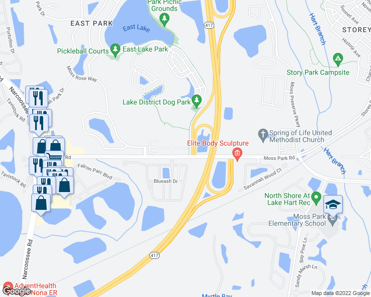 map of restaurants, bars, coffee shops, grocery stores, and more near 13587 Moss Rose Way in Orlando