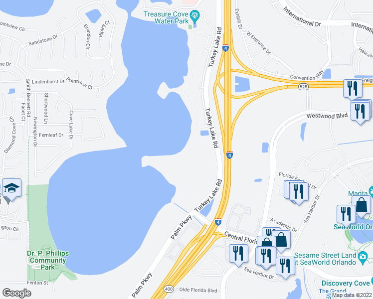 map of restaurants, bars, coffee shops, grocery stores, and more near 7119 Sand Lake Reserve Drive in Orlando