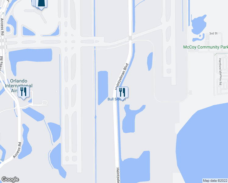 map of restaurants, bars, coffee shops, grocery stores, and more near Heintzelman Boulevard in Orlando