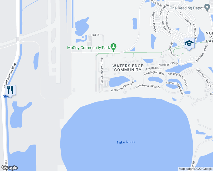 map of restaurants, bars, coffee shops, grocery stores, and more near 10164 Sandstone Pond Way in Orlando