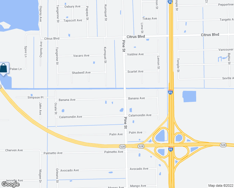 map of restaurants, bars, coffee shops, grocery stores, and more near 5020 Banana Avenue in Cocoa