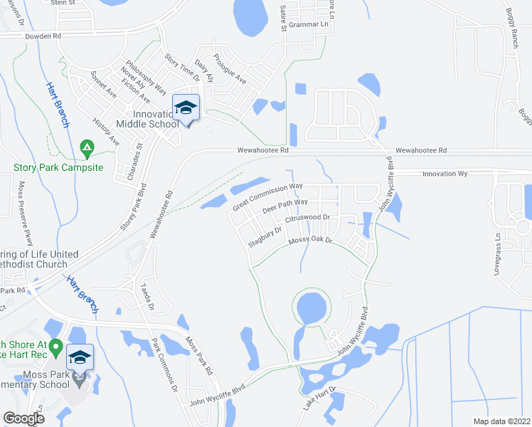 map of restaurants, bars, coffee shops, grocery stores, and more near 9032 Oak Moss Drive in Orlando