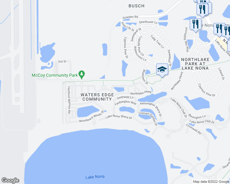 map of restaurants, bars, coffee shops, grocery stores, and more near 8443 Northlake Parkway in Orlando