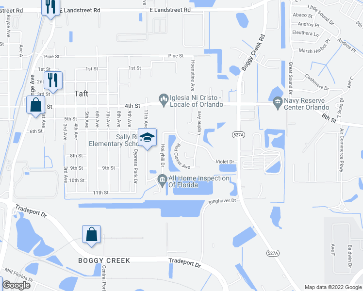 map of restaurants, bars, coffee shops, grocery stores, and more near 9719 Red Clover Avenue in Orlando