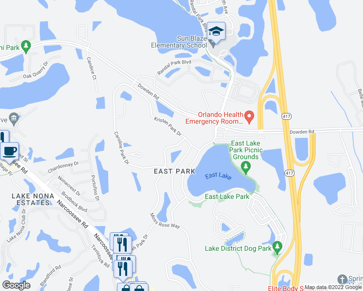 map of restaurants, bars, coffee shops, grocery stores, and more near 9625 Moss Rose Way in Orlando