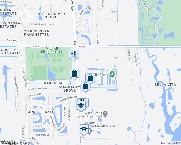 map of restaurants, bars, coffee shops, grocery stores, and more near 4090 Shuttle Court in Merritt Island