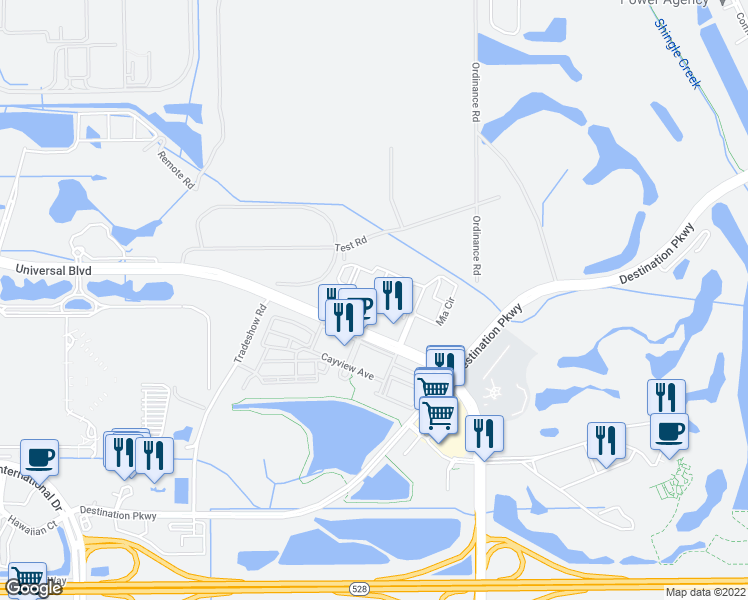 map of restaurants, bars, coffee shops, grocery stores, and more near Avellino Avenue in Orlando