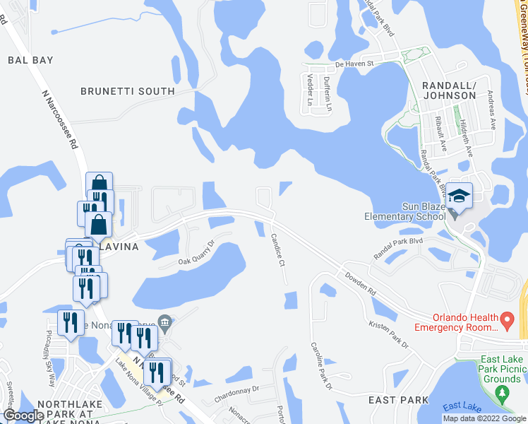 map of restaurants, bars, coffee shops, grocery stores, and more near 9368 Monterey Bay Drive in Orlando