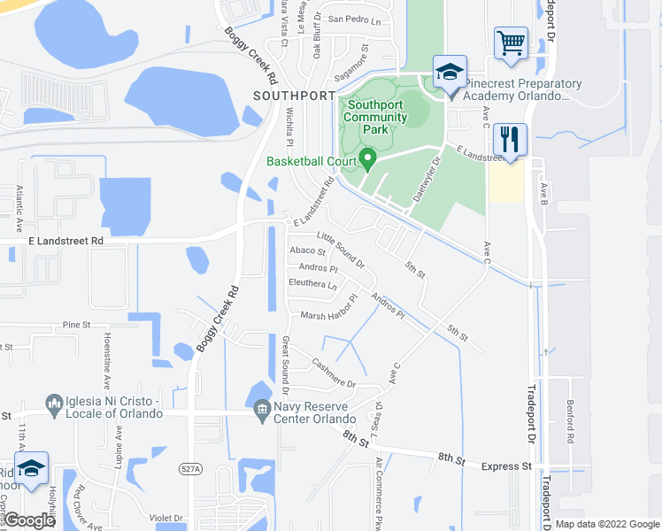 map of restaurants, bars, coffee shops, grocery stores, and more near 3117 Andros Place in Orlando