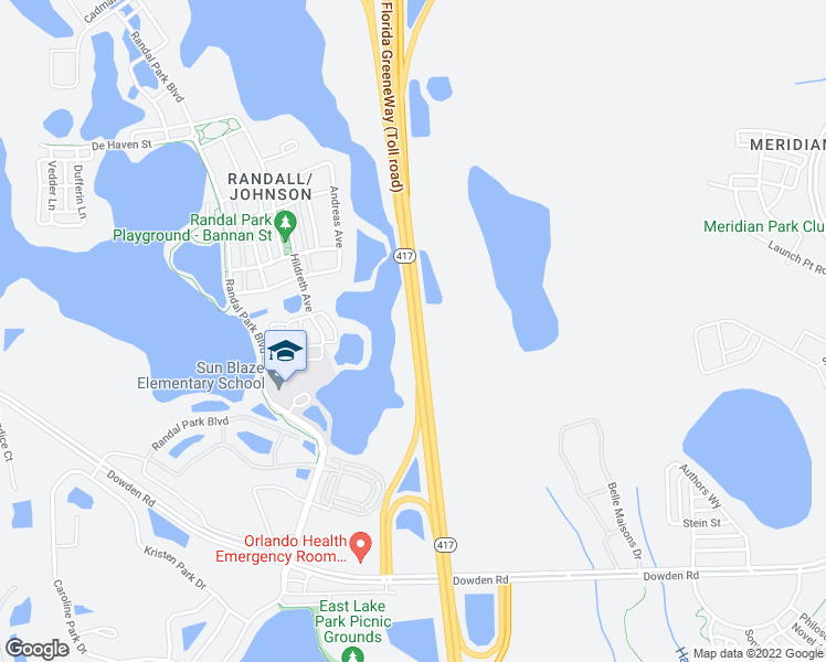 map of restaurants, bars, coffee shops, grocery stores, and more near Central Florida GreeneWay in Orlando