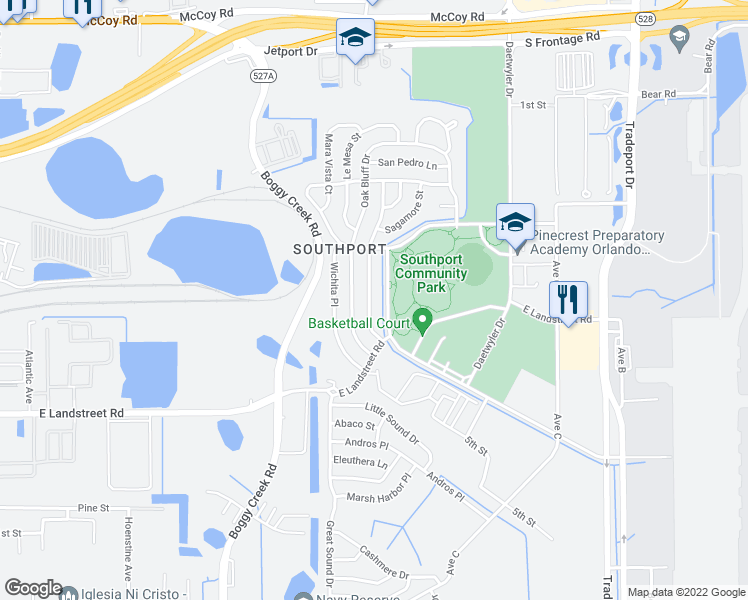 map of restaurants, bars, coffee shops, grocery stores, and more near 8621 Pocasset Place in Orlando