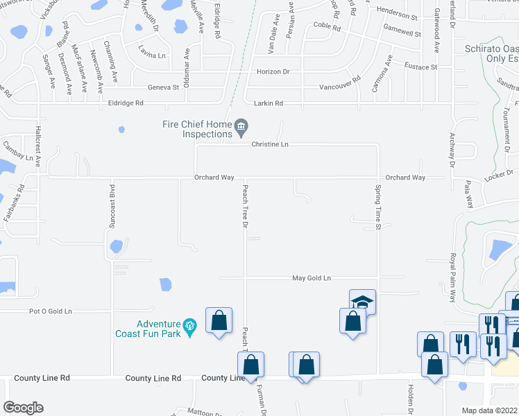 map of restaurants, bars, coffee shops, grocery stores, and more near 412 Peach Tree Drive in Spring Hill