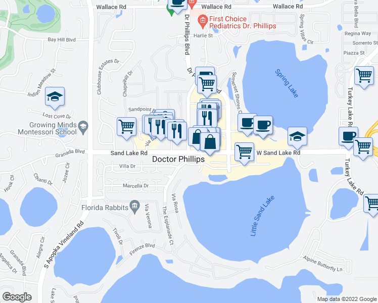 map of restaurants, bars, coffee shops, grocery stores, and more near 7939 Della Drive in Orlando