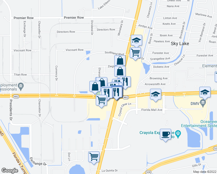 map of restaurants, bars, coffee shops, grocery stores, and more near 7900 South Orange Blossom Trail in Orlando