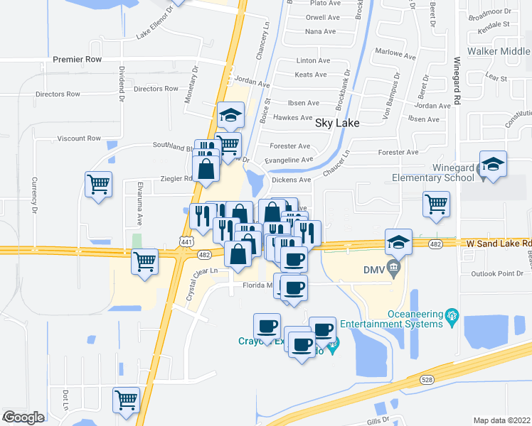 map of restaurants, bars, coffee shops, grocery stores, and more near 1314 Browning Avenue in Orlando