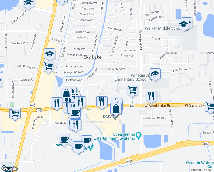 map of restaurants, bars, coffee shops, grocery stores, and more near 837 Sky Lake Circle in Orlando