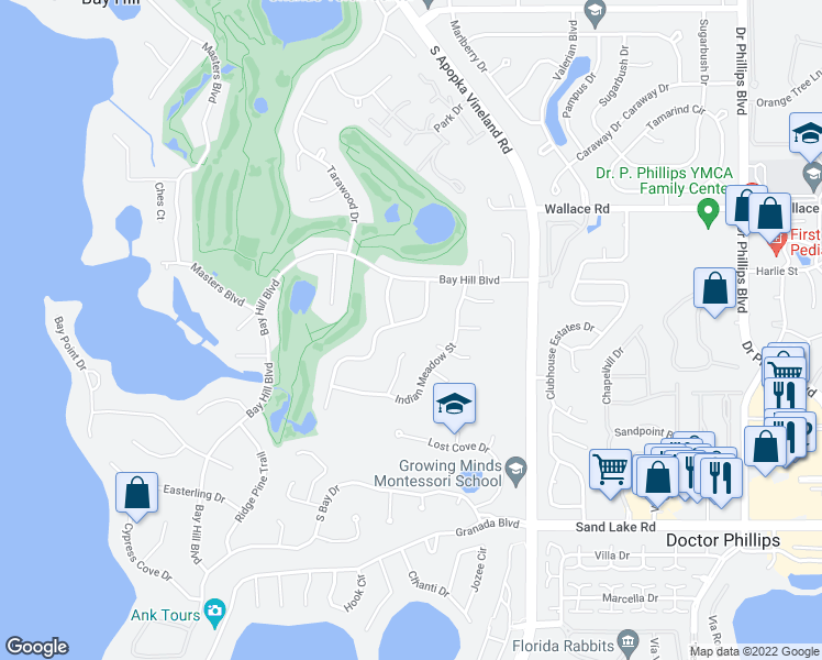 map of restaurants, bars, coffee shops, grocery stores, and more near 6135 Donegal Drive in Orlando