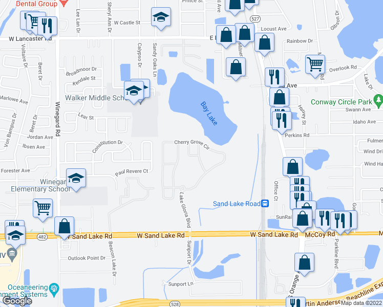 map of restaurants, bars, coffee shops, grocery stores, and more near 6646 Shadow Oak Walk in Orlando