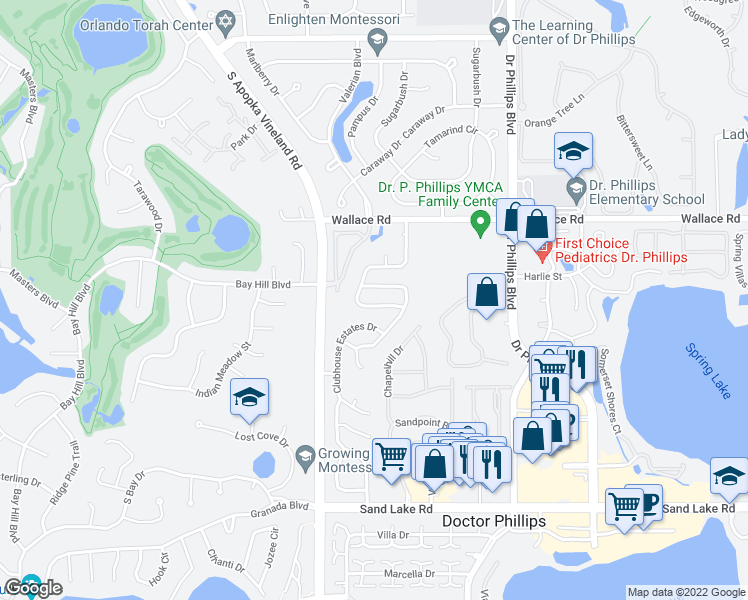 map of restaurants, bars, coffee shops, grocery stores, and more near 7419 Burnway Drive in Orlando