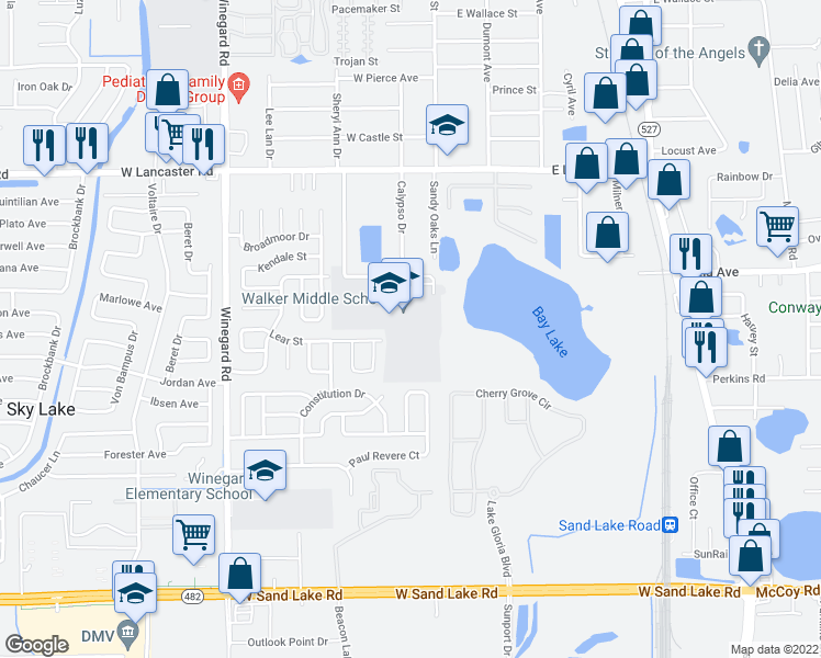 map of restaurants, bars, coffee shops, grocery stores, and more near 150 Amidon Lane in Orlando