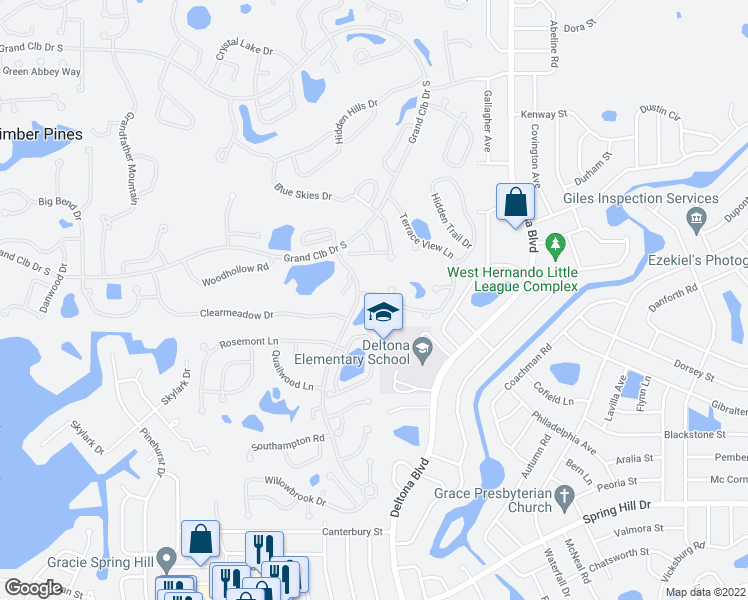 map of restaurants, bars, coffee shops, grocery stores, and more near 2066 Terrace View Lane in Spring Hill
