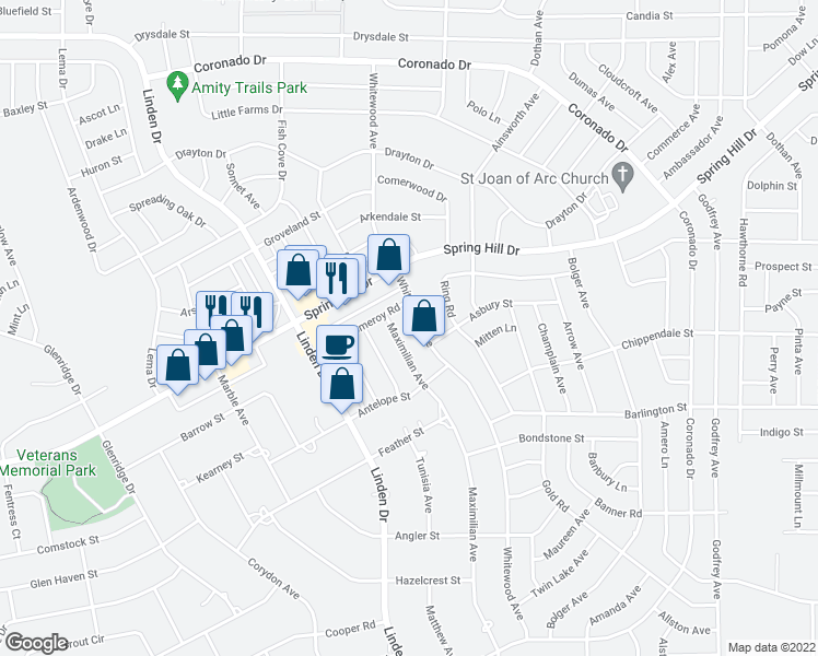 map of restaurants, bars, coffee shops, grocery stores, and more near 2280 Maximilian Avenue in Spring Hill
