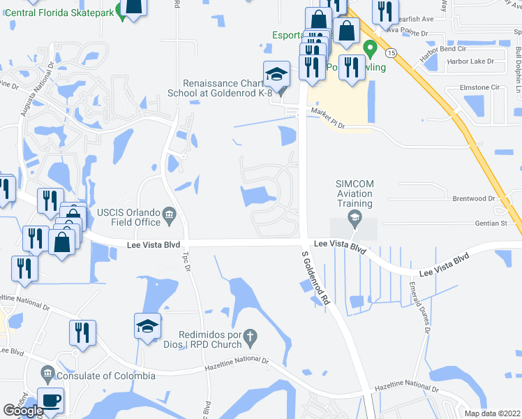map of restaurants, bars, coffee shops, grocery stores, and more near 6664 South Goldenrod Road in Orlando