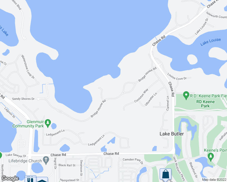 map of restaurants, bars, coffee shops, grocery stores, and more near 11127 Bridge House Road in Windermere