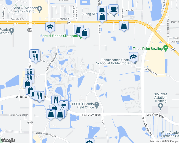 map of restaurants, bars, coffee shops, grocery stores, and more near 5905 Bent Pine Dr in Orlando