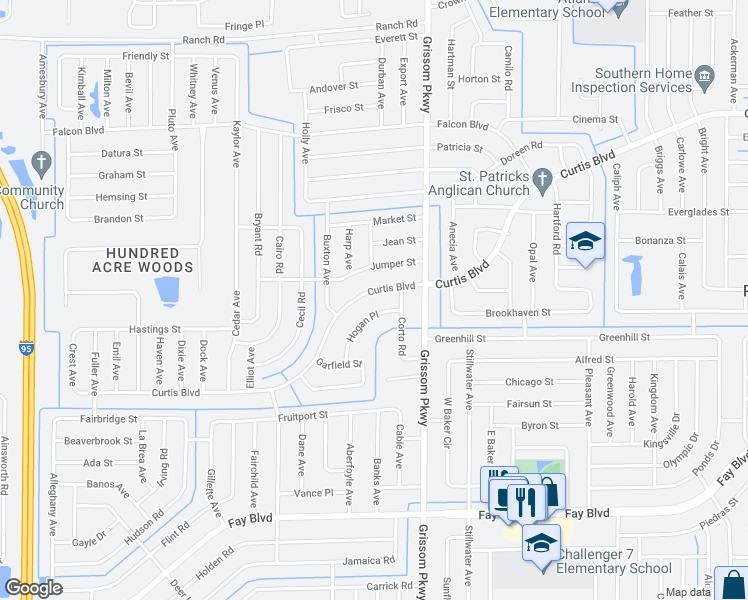 map of restaurants, bars, coffee shops, grocery stores, and more near 5105 Curtis Boulevard in Cocoa