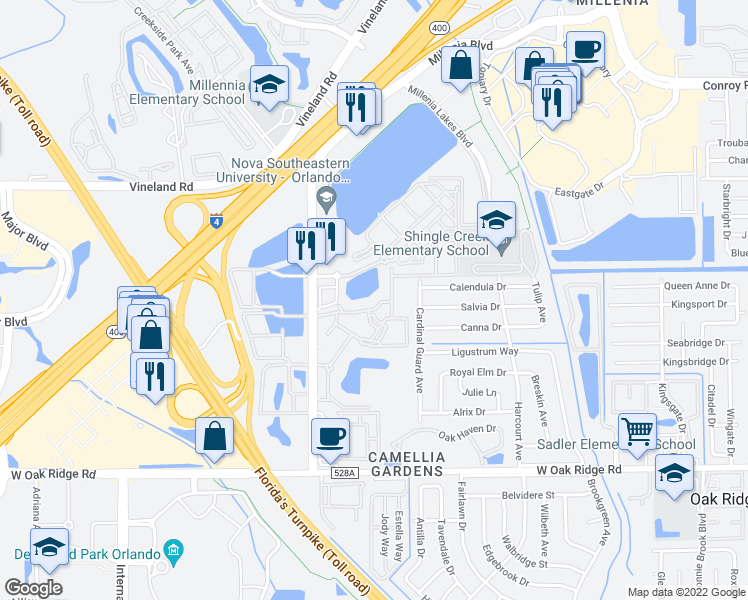 map of restaurants, bars, coffee shops, grocery stores, and more near 5000 Millenia Boulevard in Orlando