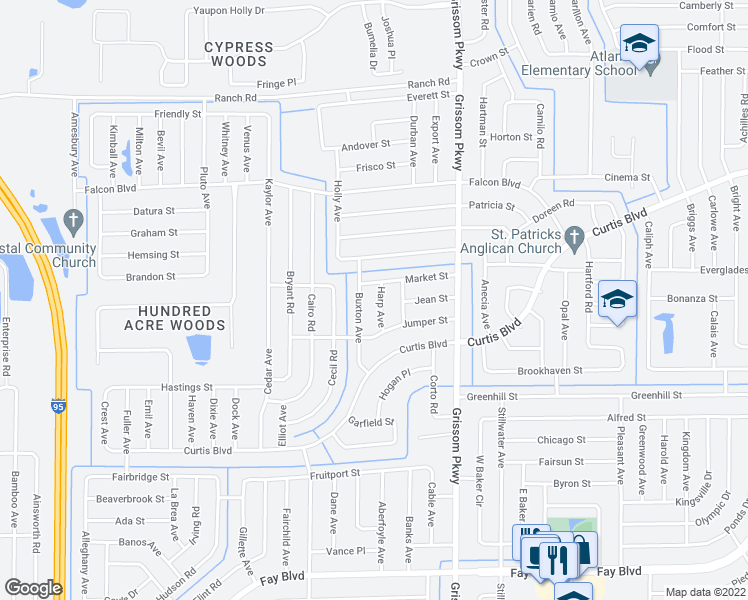 map of restaurants, bars, coffee shops, grocery stores, and more near 6850 Harp Avenue in Cocoa