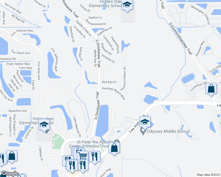 map of restaurants, bars, coffee shops, grocery stores, and more near 8727 Hastings Beach Boulevard in Orlando