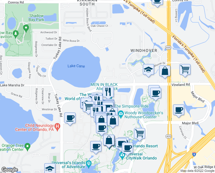 map of restaurants, bars, coffee shops, grocery stores, and more near 6350 Vineland Road in Orlando