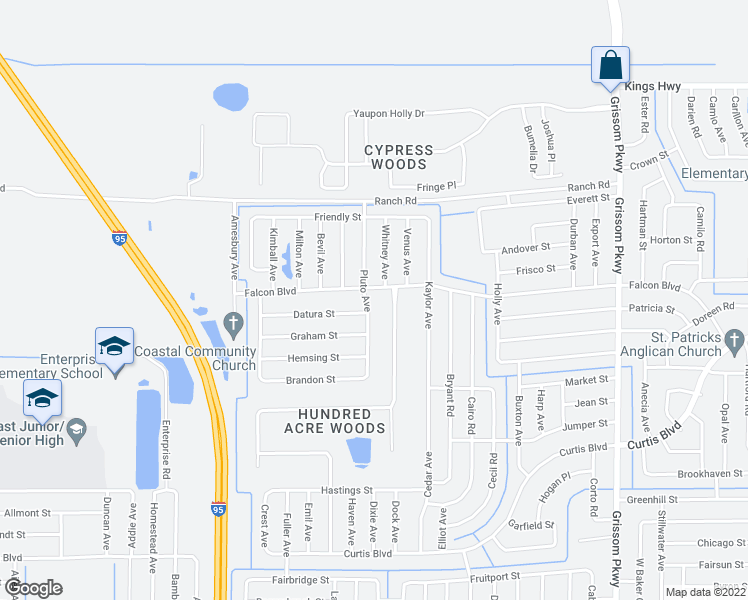 map of restaurants, bars, coffee shops, grocery stores, and more near 7075 Pluto Avenue in Cocoa