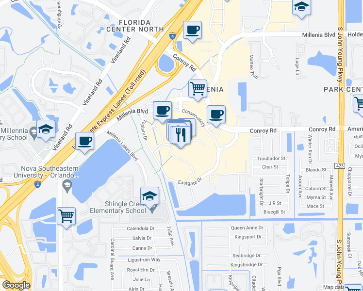 map of restaurants, bars, coffee shops, grocery stores, and more near 4200 Conroy Road in Orlando