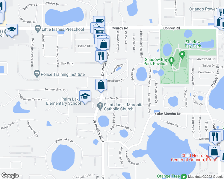 map of restaurants, bars, coffee shops, grocery stores, and more near 5417 Cedar Pine Court in Orlando