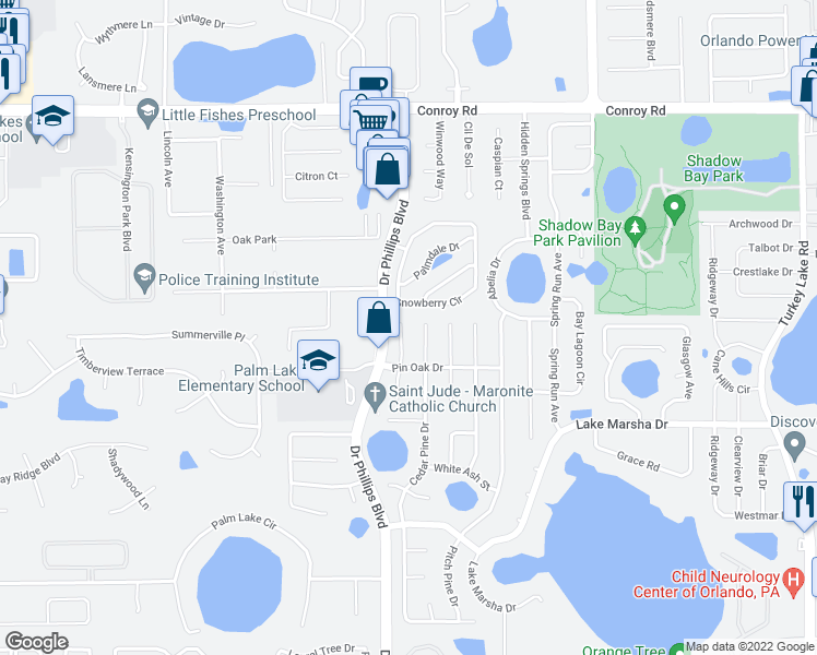 map of restaurants, bars, coffee shops, grocery stores, and more near 5418 Split Pine Court in Orlando