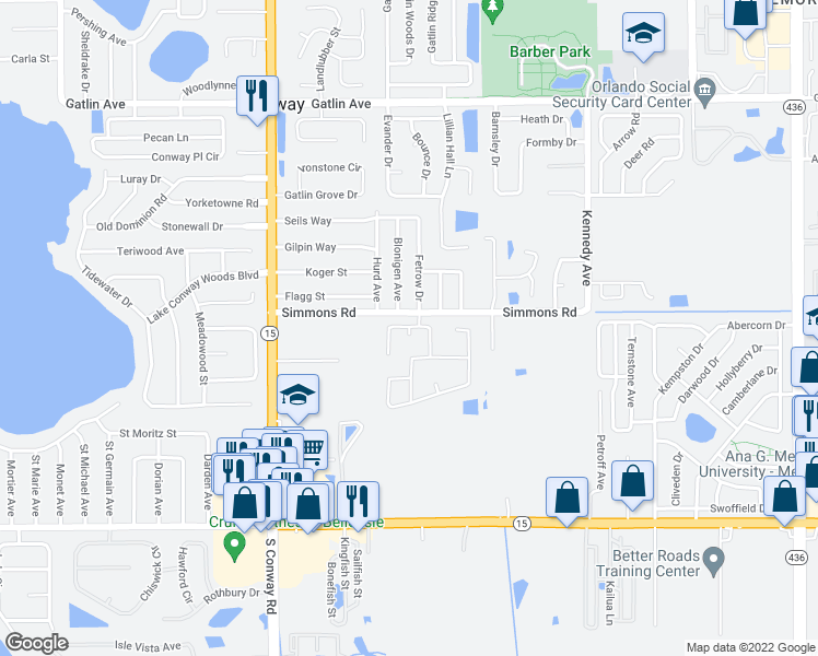 map of restaurants, bars, coffee shops, grocery stores, and more near 4521 Blonigen Avenue in Orlando