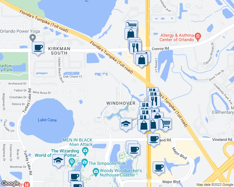 map of restaurants, bars, coffee shops, grocery stores, and more near Eaglesmere Dr & Ernst Ct in Orlando