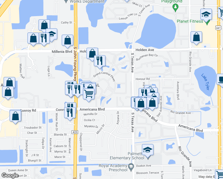 map of restaurants, bars, coffee shops, grocery stores, and more near 2352 Grand Central Parkway in Orlando