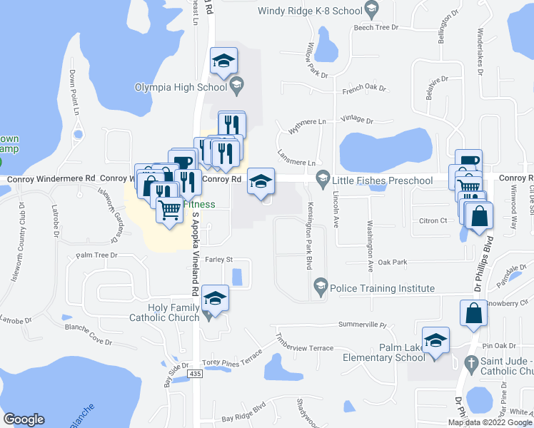 map of restaurants, bars, coffee shops, grocery stores, and more near 5125 Keeneland Circle in Orlando